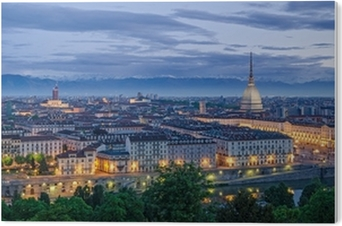 Turin panorama at twilight PVC Print