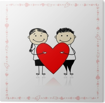 fda2e52c32 Valentine day. Couple with big red heart for your design Poster • Pixers® •  We live to change