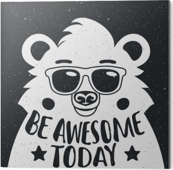 Vector illustration with stylish hipster white bear in sunglasses. PVC Print