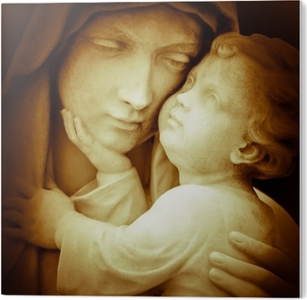 Vintage image of the virgin Mary carrying baby Jesus PVC Print