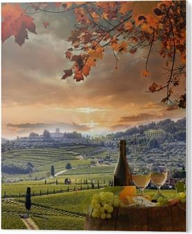 PVC Print Witte wijn met barell in de wijngaard, Chianti, Toscane, Italië