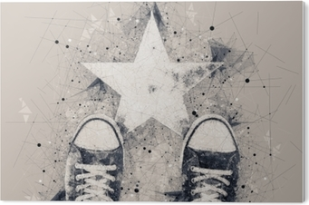 Young person on the road with star shape imprint PVC Print
