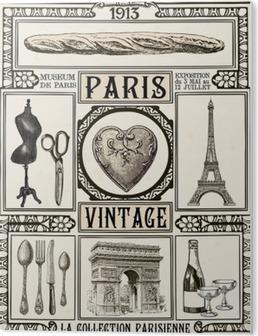 PVC Tavla Affisch Paris Vintage
