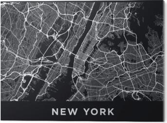 PVC Tavla Mörk new york city map. vägkarta över new york (united states). svart och vit (mörk) illustration av New York Street. transportnätverk av det stora äpplet. utskrivbart posterformat (album).