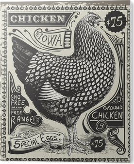 PVC Tavla Vintage Poultry and Eggs Advertising Page