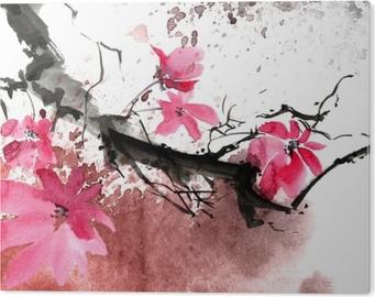 Akvarelblomstræ PVC Tryk