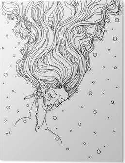 Håndtegnet blæk doodle piger ansigt og flydende hår på hvid baggrund. design til voksne, plakat, print, t-shirt, invitation, bannere, flyers. skitse. vektor eps 8. PVC Tryk