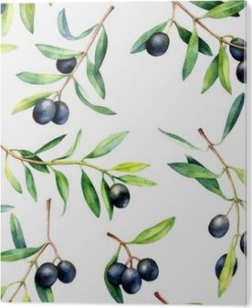 Problemfri mønster med oliventræer. Håndtegnet akvarel illustration. PVC Tryk