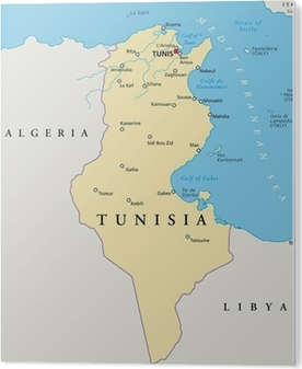 Tunesien Kort Tunesien Landkarte Pixerstick Klistermaerke