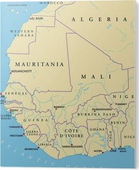 Vestafrika Kort Plakat Pixers Vi Lever For Forandringer
