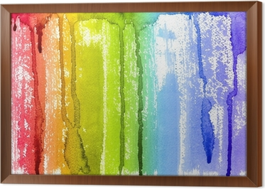 Quadro su tela acquerello astratto arcobaleno paint brush e gocce di