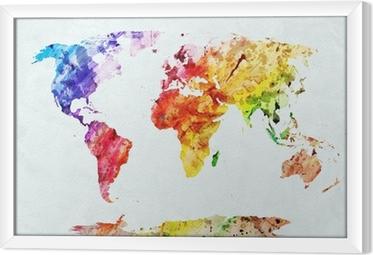 Quadro in Cornice Acquerello mappa del mondo