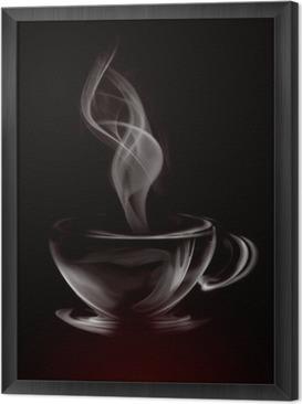 Quadro in Cornice Artistico fumo Illustrazione Tazza di caffè su fondo nero