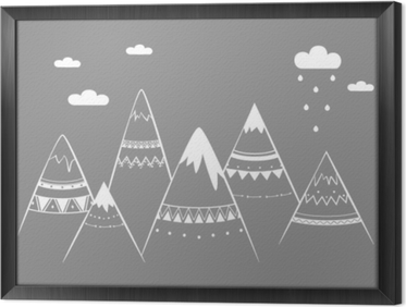 Quadro in Cornice Bambini di montagna, illustrazione vettoriale disegnato a mano