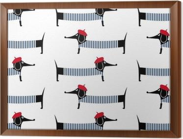 Poster cane stile francese seamless. simpatico cartone animato