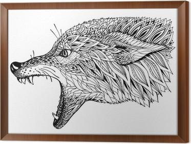 Capo Ufficio Disegno : Quadro su tela capo patterned del lupo. totem etnico tribale