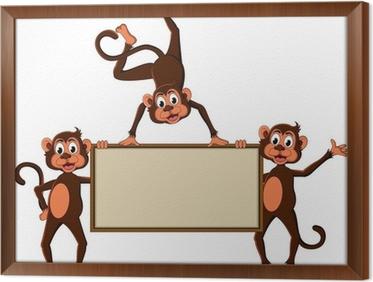 Poster cartone animato di scimmia con la scheda in bianco u2022 pixers