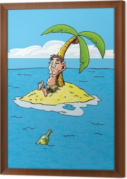 Poster cartoon di naufrago su unisola deserta u2022 pixers® viviamo