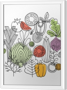 Quadro in Cornice Composizione rotonda di verdure. grafica lineare. sfondo di verdure. stile scandinavo. cibo salutare. illustrazione vettoriale