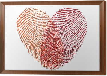 Carta da parati cuore rosso di impronte digitali il vettore