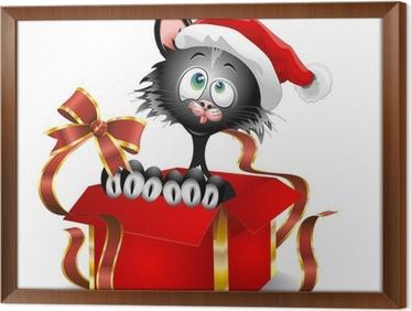 Quadro su tela gatto di cartone animato su regalo di natale gatto