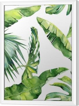 Quadro in Cornice Illustrazione di acquerello senza soluzione di continuità di foglie tropicali, dense giungla. Il motivo con il motivo tropicale di estate può essere utilizzato come struttura di fondo, carta da imballaggio, tessile, disegno della carta da parati.