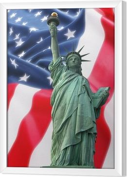 Quadro in Cornice NY Statua della Libertà contro una bandiera degli Stati Uniti