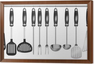 Quadro su Tela Orizzontali set utensili da cucina • Pixers ...