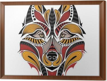 Capo Ufficio Disegno : Adesivo patterned capo di colore del lupo. disegno totem