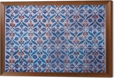 Quadro su tela piastrelle di iznik antiche con motivi floreali