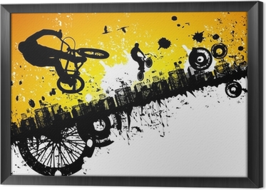 Quadro in Cornice Piloti di BMX in uno sfondo di città