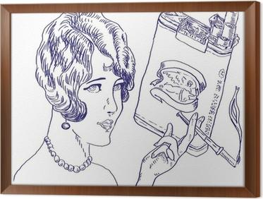 Carta Da Parati Ragazza Con Un Pacchetto Di Sigarette Disegno A