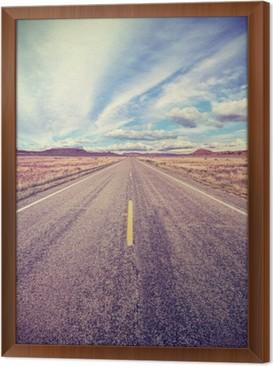 Quadro in Cornice Retro stilizzato autostrada del deserto, concetto di avventura di viaggio.