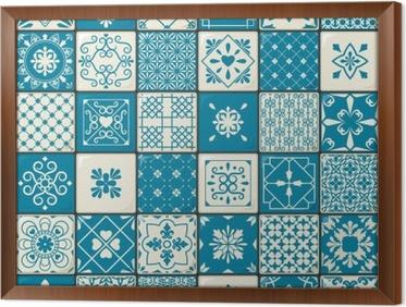Quadro su tela set di modelli di piastrelle marocchine orientali d