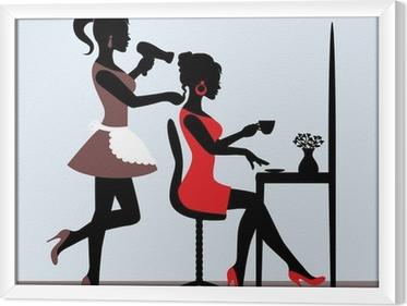 Quadro in Cornice Silhouette femminile in parrucchiere.