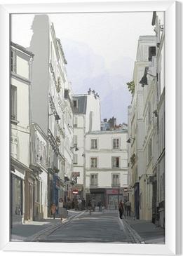 Quadro in Cornice Strada vicino a Montmartre a Parigi