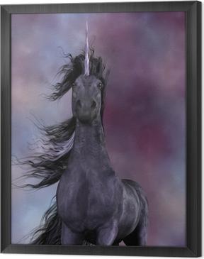 Quadro in Cornice Unicorno nero