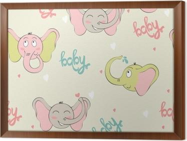 Poster vector seamless con elefanti carino cartone animato u2022 pixers