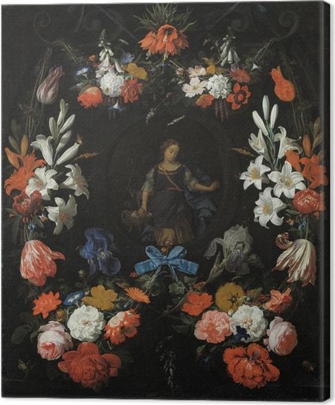 Quadro su Tela Abraham Mignon - Garland of Flowers - Riproduzioni