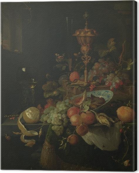Quadro su Tela Abraham Mignon - Still life with fruit and a bowl on a roosters leg - Riproduzioni