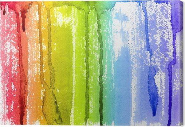 Quadro su tela acquerello astratto arcobaleno paint brush e gocce di