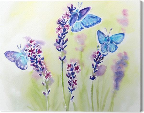 Quadro su Tela Acquerello dipinto con fiori di lavanda estate e ...