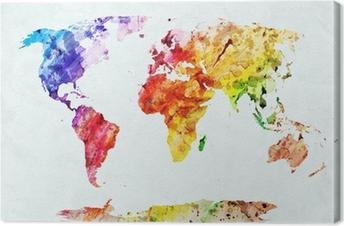Quadro su Tela Acquerello mappa del mondo