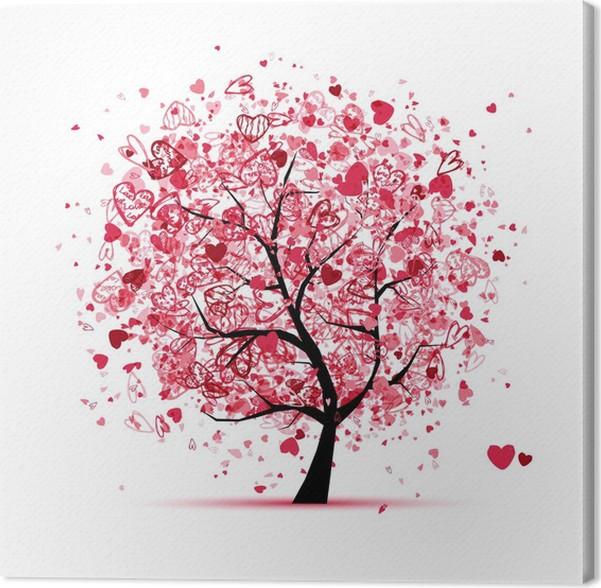 Quadro su Tela Albero di San Valentino con cuori per il vostro ...