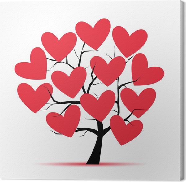 Quadro su Tela Amore albero con cuori per il vostro disegno • Pixers ...