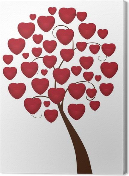 Quadro su Tela Amore albero con cuori rossi • Pixers® - Viviamo per ...