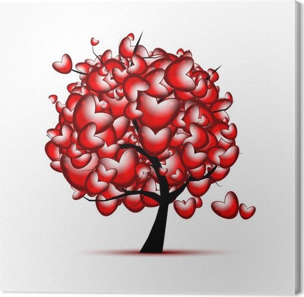 Quadro su Tela Amore di disegno con cuori rossi per il giorno di San ...