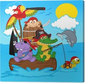 Quadro su Tela Animali pirati - illustrazione vettoriale, eps
