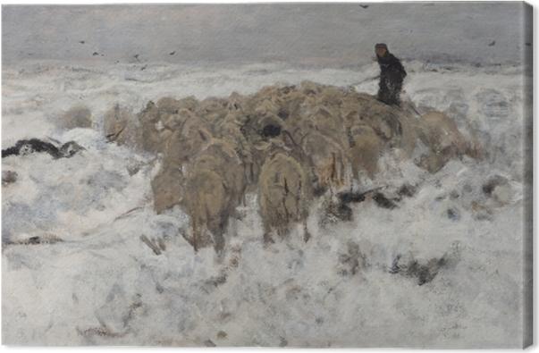 Quadro su Tela Anton Mauve - Gregge di pecore con il pastore nella neve - Reproductions