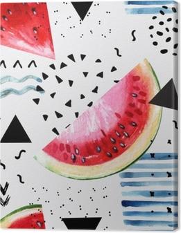 Quadro su Tela Astratto estate acquerello: anguria, pennellata, scarabocchiare, texture di carta.